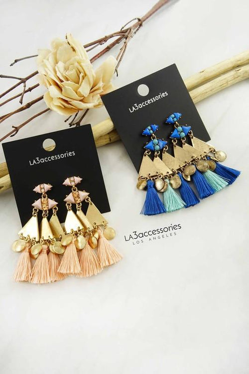 Pyramid Tassel Earrings - Available at Celizzione.com