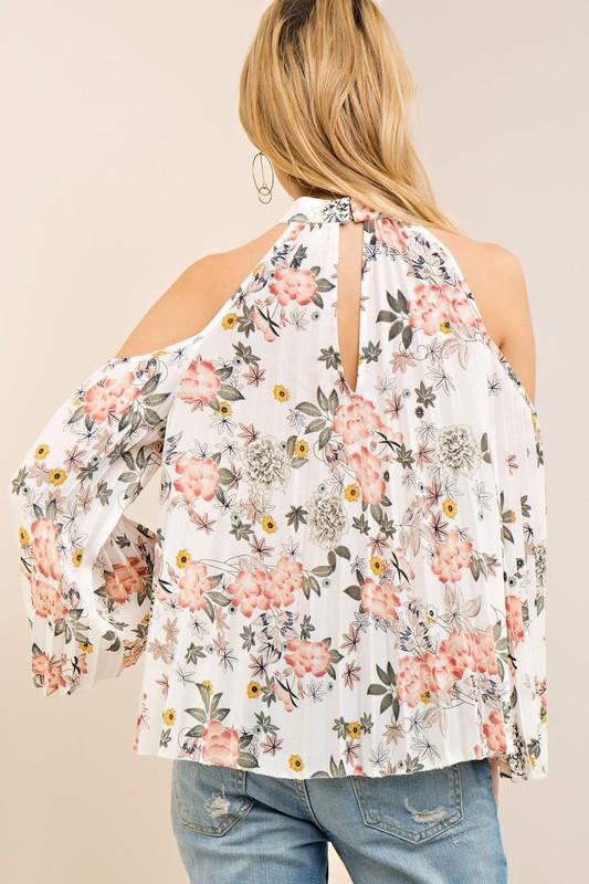 Floral Print Cold Shoulder Top available at Celizzione.com