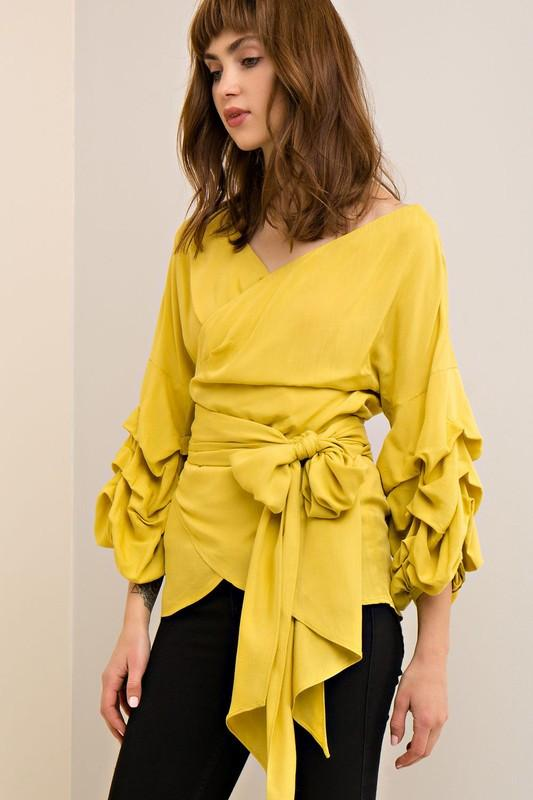 Wrap Ruffles Sleeves Top - Available at Celizzione.com