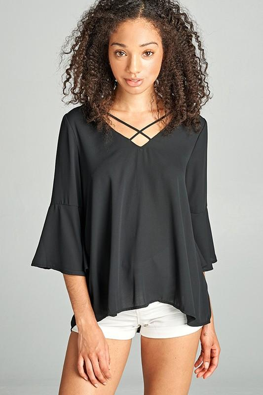 V-Neck Cross Over Top available at Celizzione.com