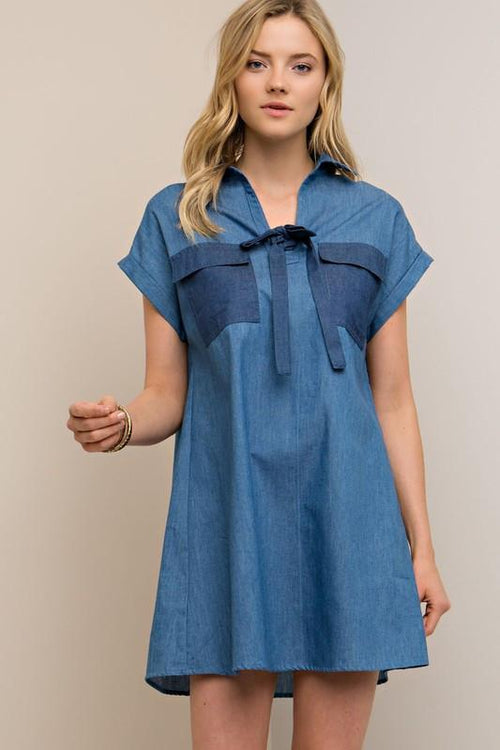 Chambray Denim Blue Dress - Available at Celizzione.com