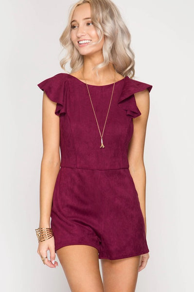 Ruffled Sleeve Suede Romper - Available at Celizzione.com