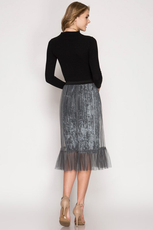 BRITT Velvet Skirt - Available at Celizzione.com
