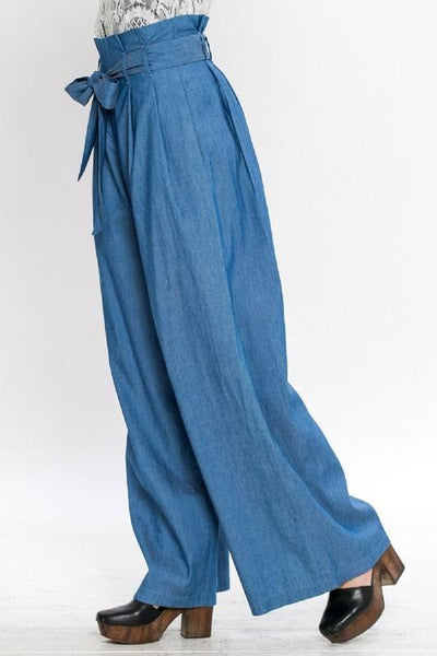 High Waist Denim Gaucho Pants - Available at Celizzione.com