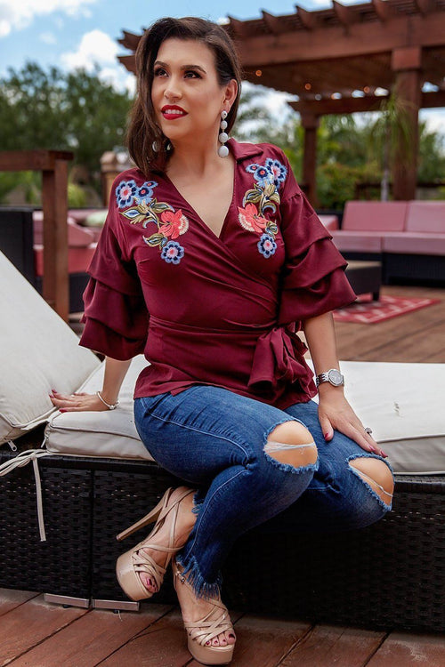 Burgundy Ariana Top - Available at Celizzione.com