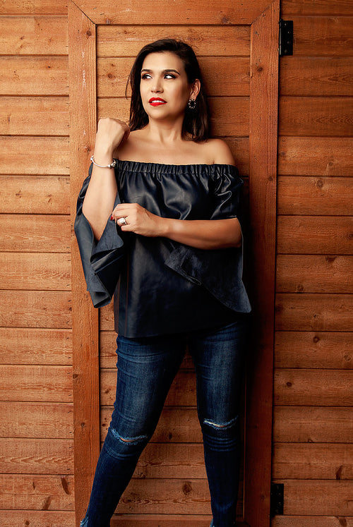 Midnight Blue Faux Leather Top - Available at Celizzione.com