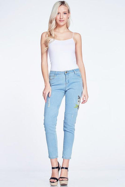 Floral Embroidery Accent Distressed Jeans available at Celizzione.com