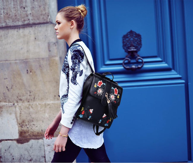 Floral Embroidery Backpack/Bag available at Celizzione.com