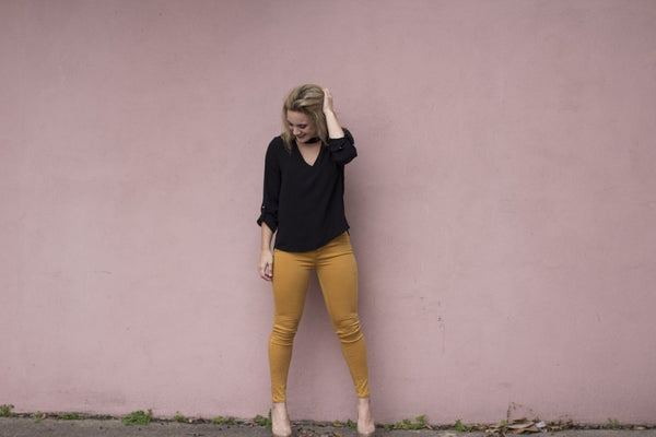 Mustard Denim Skinny Pant/Jean available at Celizzione.com