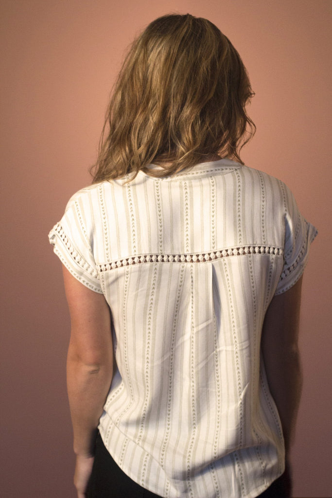 V-neck Ivory Lace Top available at Celizzione.com