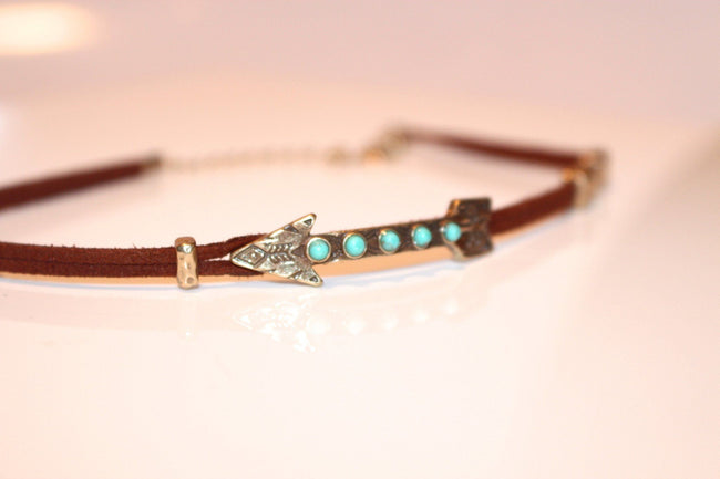 Bohemian Etched Arrow Suede Choker - Available at Celizzione.com