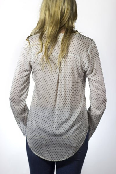 V-Neck Roll Up Woven Top - Available at Celizzione.com