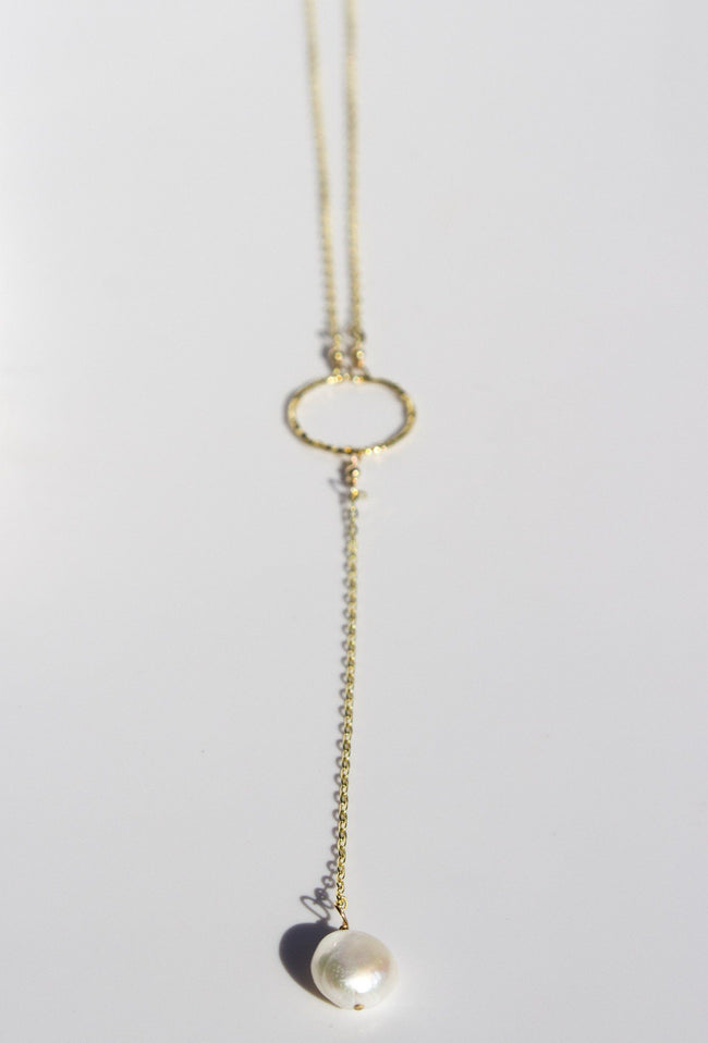 Pearl Pendant on Small Circle - Available at Celizzione.com