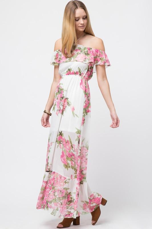 Off Shoulder Floral Maxi Dress - Available at Celizzione.com