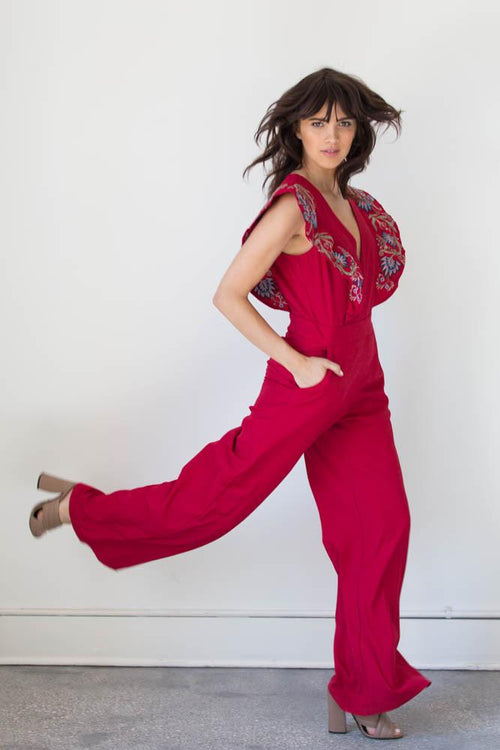 Wide Leg Ruffled Jumpsuit - Available at Celizzione.com
