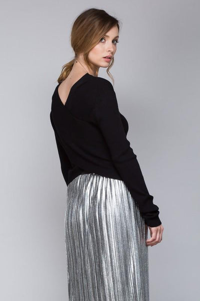 Cross Back Crop Knit Sweater - Available at Celizzione.com