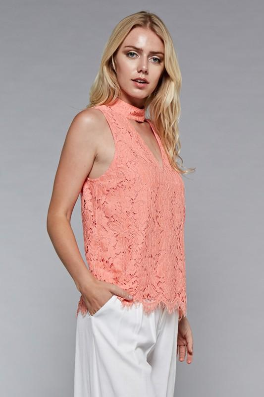 Lace V-Neck Choker Top available at celizzione.com