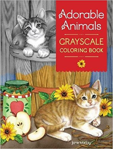 Adorable Animals in Grayscale Coloring Book