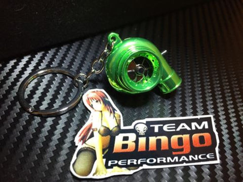 Electronic Spinning Turbo key Ring Chain with LED & Sound Chrome Green JDM Gift