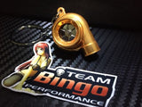 Electronic Spinning Turbo key Ring Chain with LED & Sound Chrome Orange JDM Gift