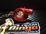 Electronic Spinning Turbo key Ring Chain with LED & Sound Chrome Red JDM Gift