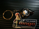 Electronic Spinning Turbo key Ring / Chain with LED & Sound ( BLACK ) JDM Gift