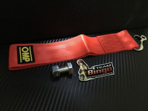 OMP Tow Strap ( RED ) 8mm & 14mm Mounting Holes JDM Race Rally Drift