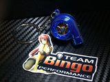 Electronic Spinning Turbo key Ring Chain with LED & Sound Chrome Blue JDM Gift