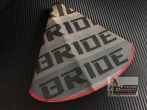 Bride Universal Gear Shifter Boot Grey Gradation & Red with Red Stitch
