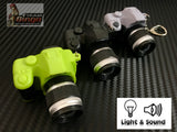 DSLR Camera Key Ring With LED Flash & 3 Burst Sound Green, Black & Grey
