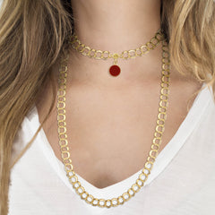 UNO Magnetic Jewelry Gold Double Link Chain Worn with Red Charm