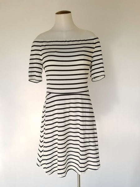 WHITE HOUSE BLACK MARKET OFF-THE-SHOULDER STRIPED KNIT SNEAKER DRESS