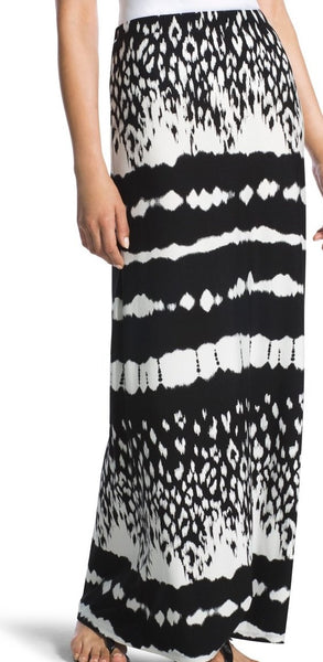 CHICOS TIE-DYE STRIPED MAXI SKIRT