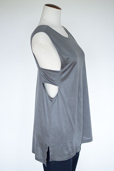 Banana Republic Cut-out Side Tank- Grey