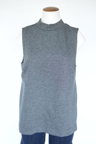 Banana Republic Mock Turtleneck Sleeveless Tank- Grey