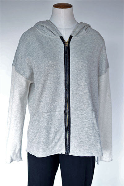 Calvin Klein Performance Zip Up Hoodie with Leather Trim Detail
