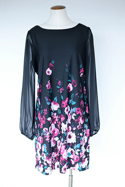 White House Black Market Chiffon Sleeve Floral Dress