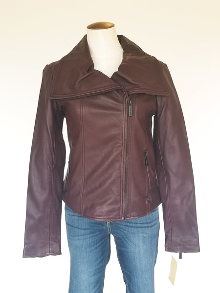 Michael Kors Leather Wing-Collar Jacket