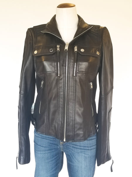 Michael Kors Leather Zip Jacket