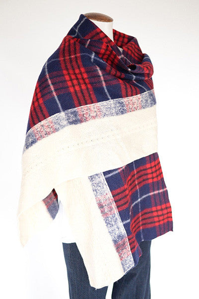 Standard Form Tartan Grid and Knit Oversized Scarf