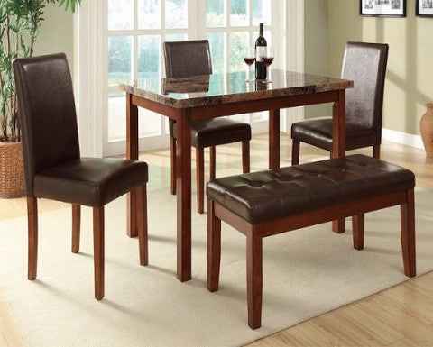 Marble 5pc Dining Set w/Bench F2509