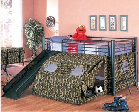 Lofted Bed with Slide and Tent Oates 7470