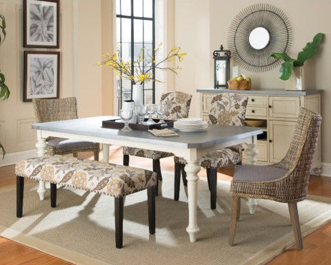 Matisse Antique White 6 PCS Dining Table Set
