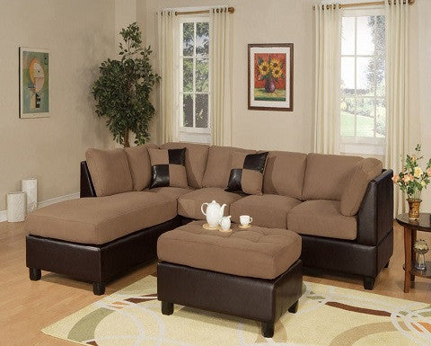 Poundex F7616 SADDLE SECTIONAL with OTTOMAN