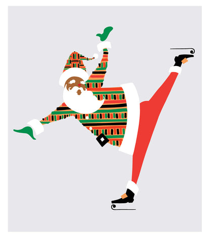 Black Santa Skating Wearing a Kente-Cloth Coat
