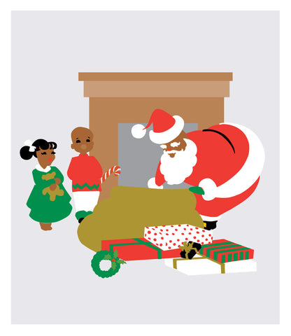 Black Santa with Kids and Presents