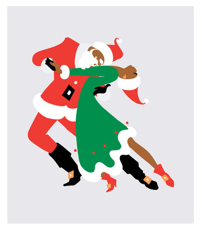 "NEW LOW PRICE/Black Santa dancing ""The Tango"" with Mrs Klaus"