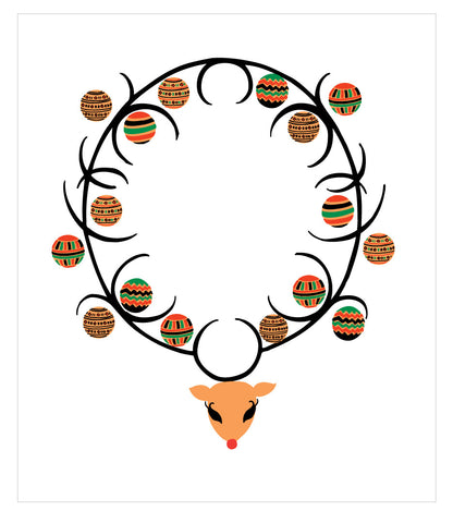 NEW LOW PRICE/Rudolph with Christmas Kente Antlers