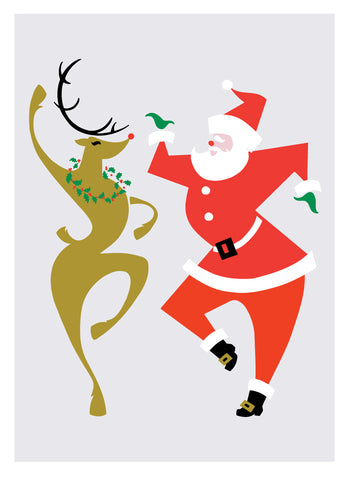 NEW LOW PRICE/Santa dancing the Cakewalk with Rudolph