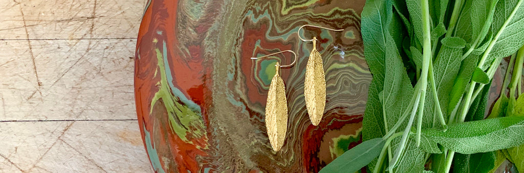 sage leaf earrings
